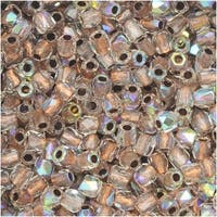 True2 Czech Fire Polished Glass, Faceted Round 2mm, 50 Pieces, Crystal AB Copper Lined