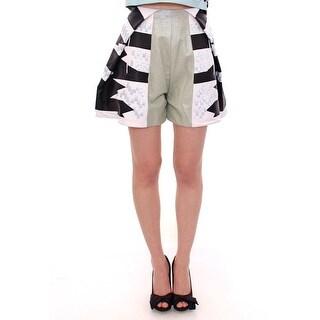 MARTINA SPETLOVA Blue Black Soft Nappa Leather Shorts