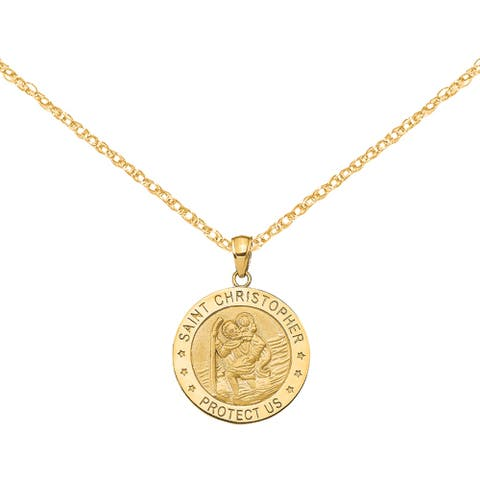 14K Yellow Gold Polished Saint Christopher Medal Pendant with 18-inch Cable Rope Chain by Versil