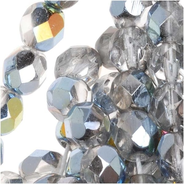 Czech Fire Polished Glass Beads 6mm Round Crystal Marea (25)