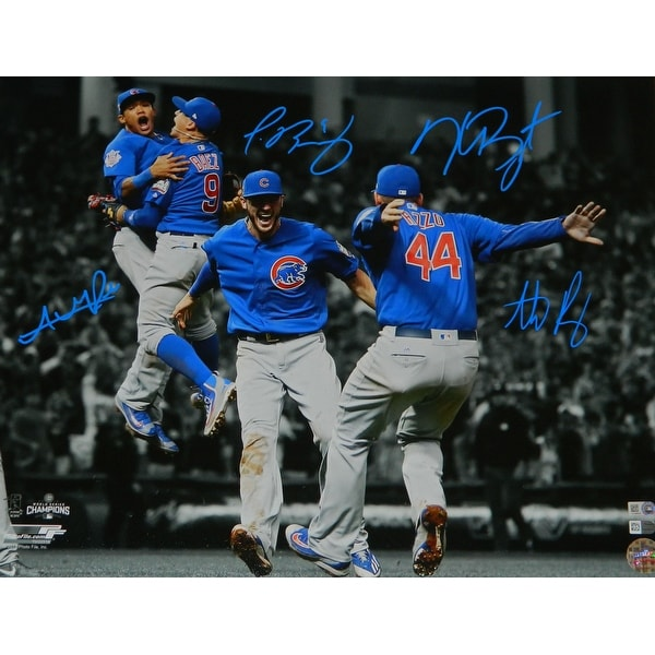 newest collection fdaf1 60b08 Anthony Rizzo Kris Bryant Addison Russell Javier Baez Cubs 2016 World  Series Infielders Celebratio