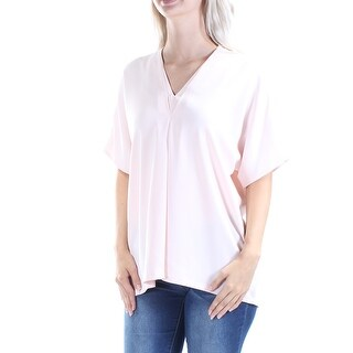 Womens Pink Dolman Sleeve V Neck Tunic Top Size 6