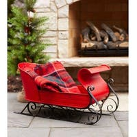 """30"""" Metal Red and Black Decorative Christmas Sleigh"""