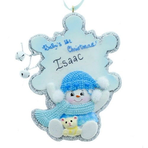 Baby's First Christmas Snowflake Boy Ornament