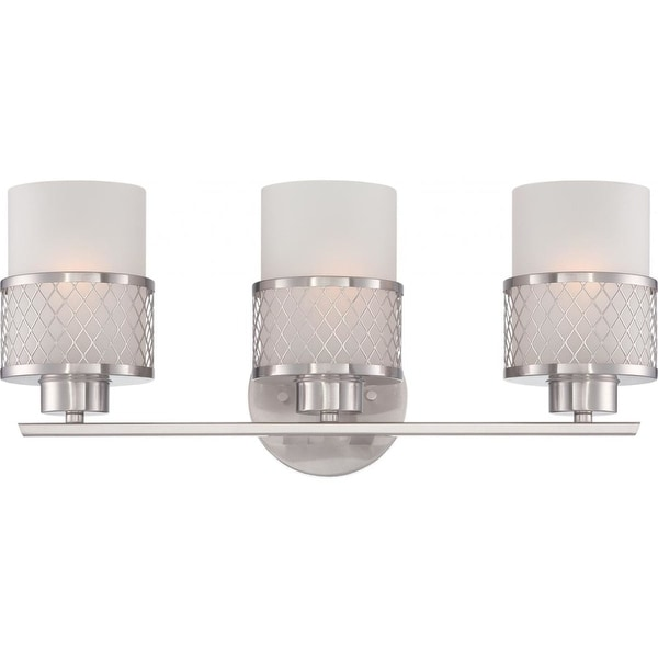 """Nuvo Lighting 60/4683 Fusion 3-Light 19"""" Wide Bathroom Vanity Light with Frosted Glass Shades and Metal Accents - Brushed nickel"""
