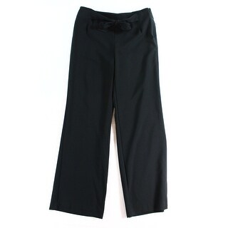 Alfani NEW Solid Black Women's Size 16 Wide-Leg Belted Dress Pants