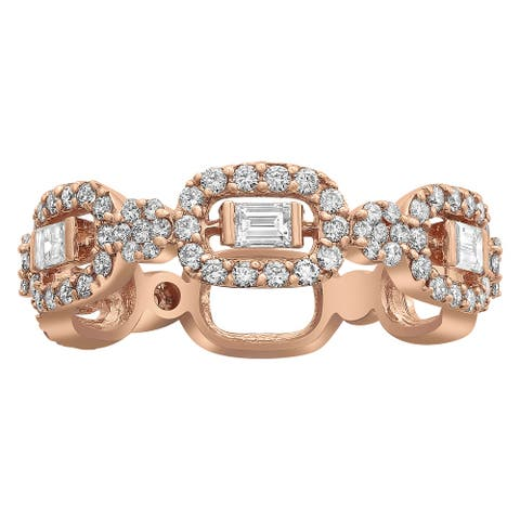 14k Rose Gold 0.9 ct TDW Diamond Anniversary Band Ring by Beverly Hills Charm