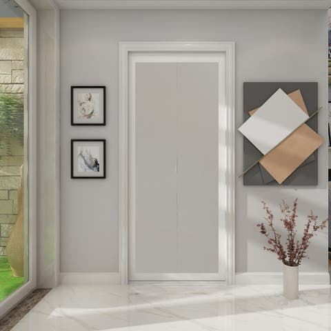 1 Lite Indoor Studio 30 in. X 80.5 in. MDF with Vinyl Frame and Frosted Glass Closet Bi-Fold Door - White