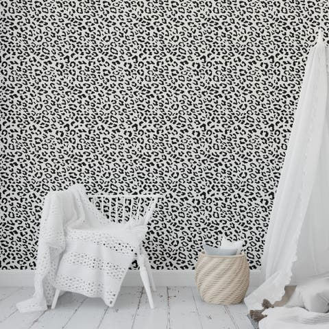 LEOPARD BLACK ON WHITE Peel and Stick Wallpaper By Kavka Designs - 2' x 16'
