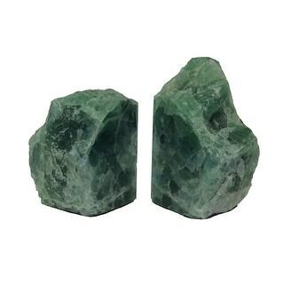Natural Fluorite Gemstone Bookend Set - Green