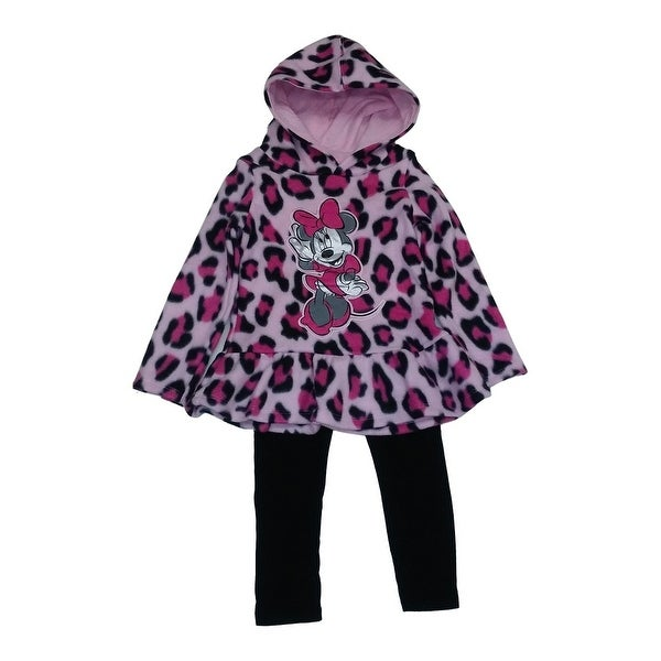 Baby Girls Pink Cheetah Print Minnie Mouse Hooded Top 2 Pc Pant Set 12-24M