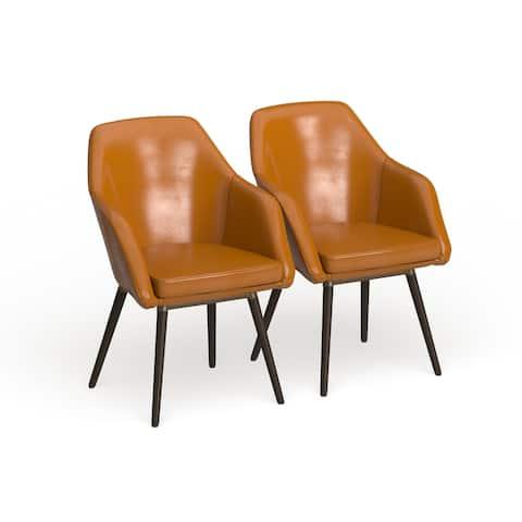 Carson Carrington Akrehamn Cappuccino Faux Leather Armchair (Set of 2)