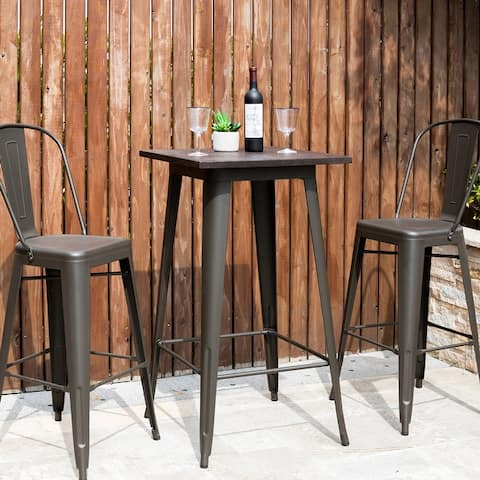 Carbon Loft Greenwood Industrial Metal Bar Table With Elm Top