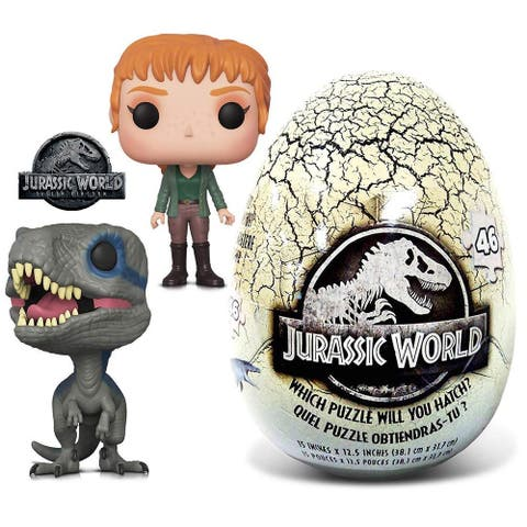 Funko POP Movies Jurassic World 2 Blue, Claire and 46 Piece Mystery Egg Puzzle (3 Items)