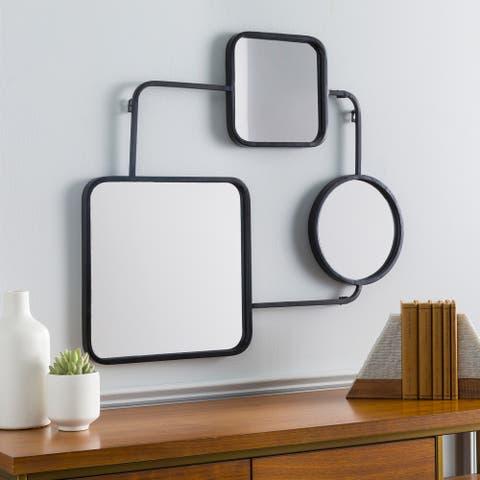 """Lucci Black Contemporary Geometric 25x29-inch Mirror - 29""""H x 25""""W"""