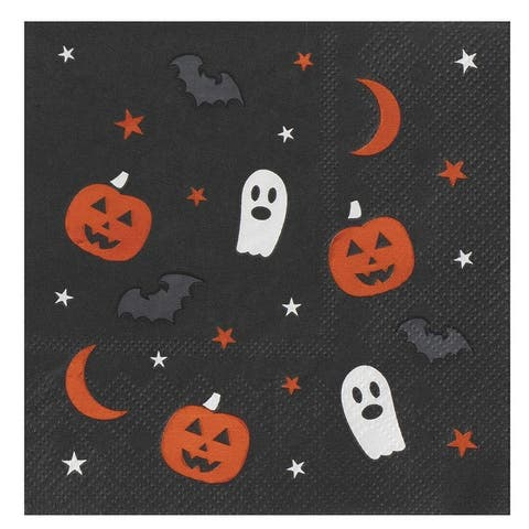 50 Paper Cocktail Napkins, Halloween Party Supplies in Pumpkin Ghost Bat Stars