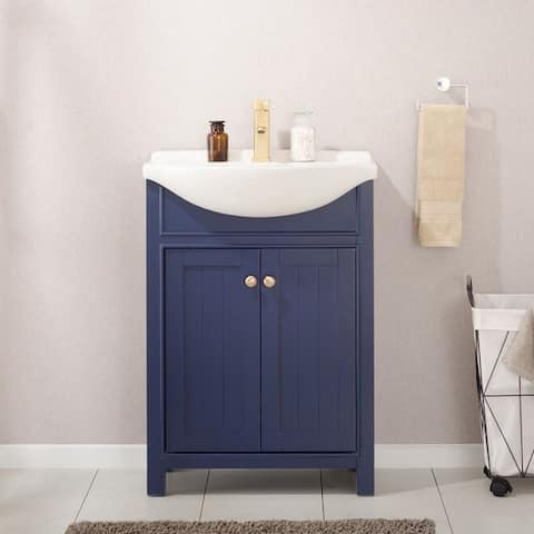 "Design Element Marian 24"" Single Sink Vanity In Blue"