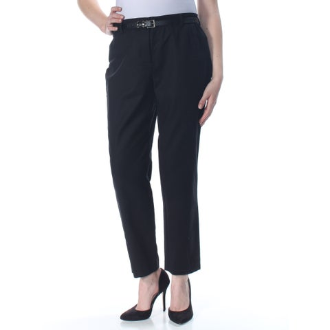 CHARTER CLUB Womens Black Straight leg Wear To Work Pants Size: 10