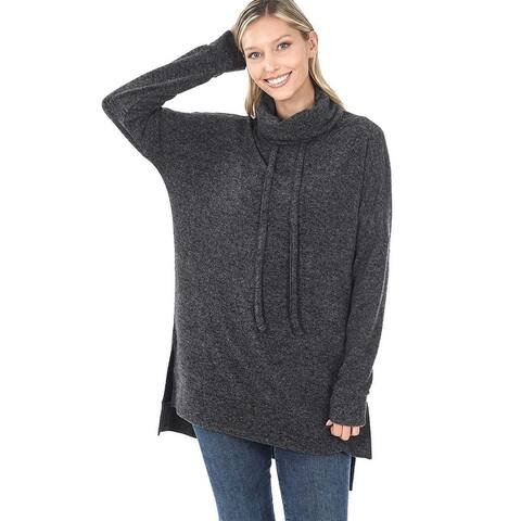 JED Women's Funnel Neck Melange Sweater Tunic Top