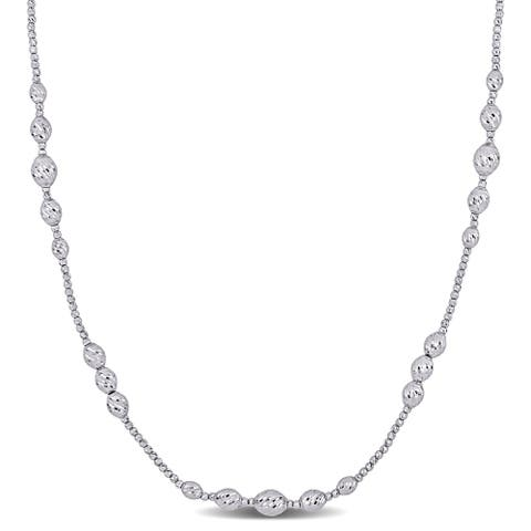 Miadora 18k White Gold Oval Diamond-cut Beaded Station Necklace