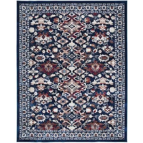 Tranditional Deep Blue Area Rug Floral Print Carpet Rug