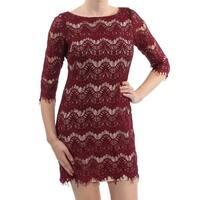 JESSICA HOWARD Womens Maroon Lace Illusion 3/4 Sleeve Jewel Neck Mini Sheath Cocktail Dress Petites  Size: 10