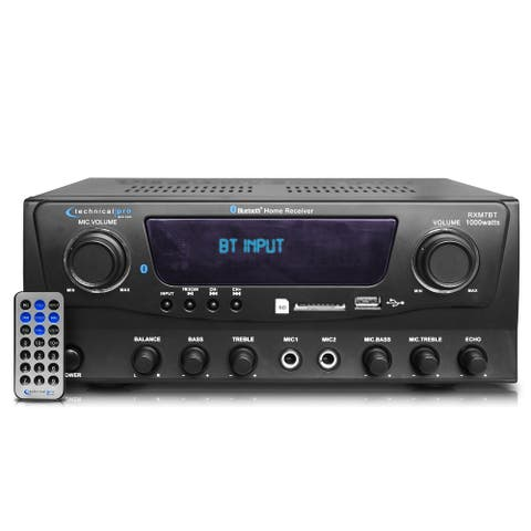 Technical Pro 1000 Watts Professional Bluetooth Receiver with USB & SD Card Inputs, iPod/ iPhone, Wireless Remote Control
