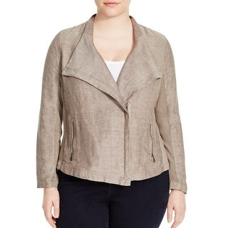 Nic + Zoe Womens Plus Motorcycle Jacket Canvas Asymmetric