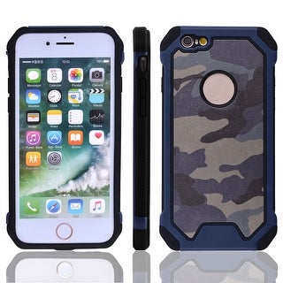 TPU Camouflage Shockproof Phone Protector Case Cover Navy Blue for IPhone 7