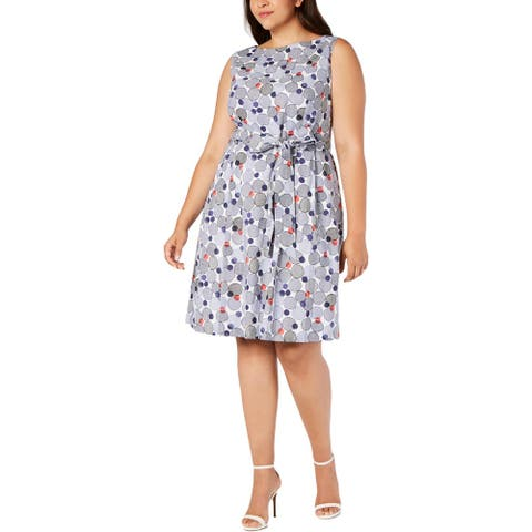 Anne Klein Womens Scuba Dress Polka Dot Embroidered - White/Eclipse Combo