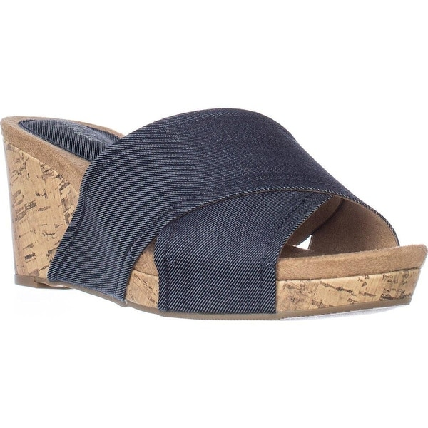 Style & Co. Womens jillee Canvas Open Toe Casual Platform, Indigo, Size 8.0 - 8