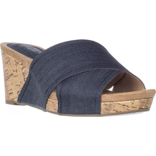 Style & Co. Womens jillee Canvas Open Toe Casual Platform, Indigo, Size 8.5