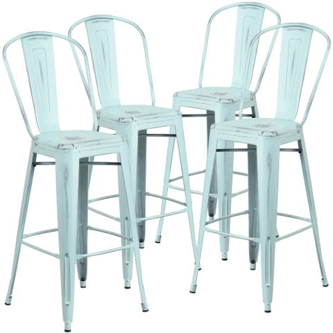 """4 PK 30""""H Distressed Indoor-Outdoor Metal Dining Barstool with Back"""