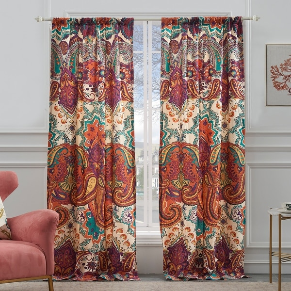 The Curated Nomad Horsdal Spice Curtain Panel Pair - 84 x 84 inches. Opens flyout.