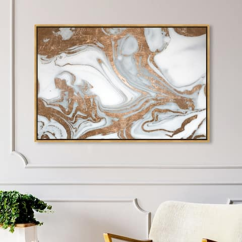 Oliver Gal 'Black Rose Nights' Abstract Wall Art Framed Canvas Print Crystals - Bronze, White