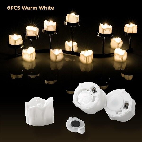 Image 6PCS Flameless Smokeless LED Tealight Light Candles Wax Dripped Warm White