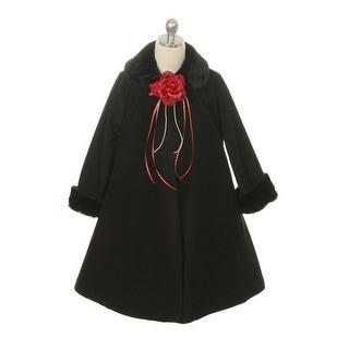 Kids Dream Black Fleece Faux Fur Collar Cuff Stylish Coat Girls 4-12