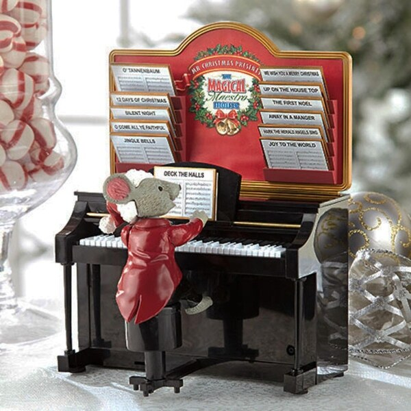 """7.75"""" Mr. Christmas Magical Maestro Mouse with Piano Musical Table Top Decoration #14687"""