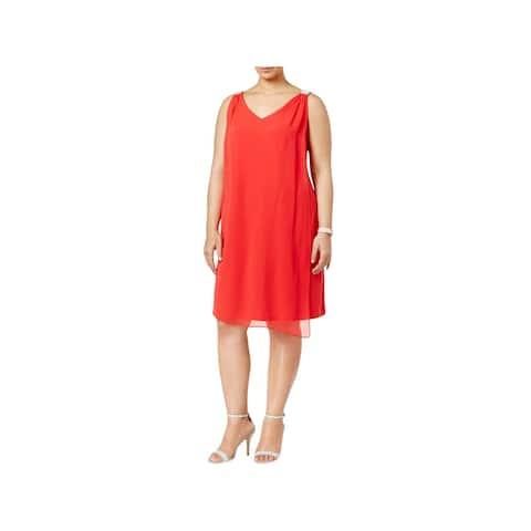 MSK Women Womens Plus Cocktail Dress Sleeveless Chiffon