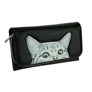 Black Peeking Cat Wallet with Removable Crossbody Strap