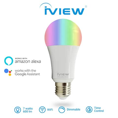 IVIEW-ISB600 Smart WiFi LED Light Bulb, Multi-color, Dimmible, No Hub Required