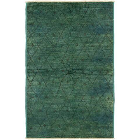 ECARPETGALLERY Hand-knotted Vibrance Teal Wool Rug - 5'10 x 9'4
