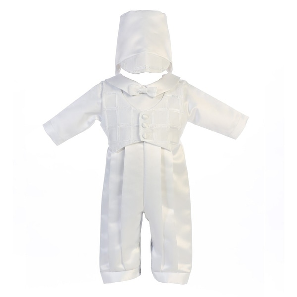 9090dfc16f023 Shop Baby Boys White Tie Romper Hat Andrew Christening Outfit - Free  Shipping Today - Overstock - 23082916