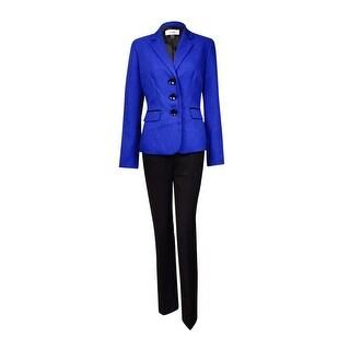Le Suit Women's Quebec Woven Notch Pant Suit - sapphire/black