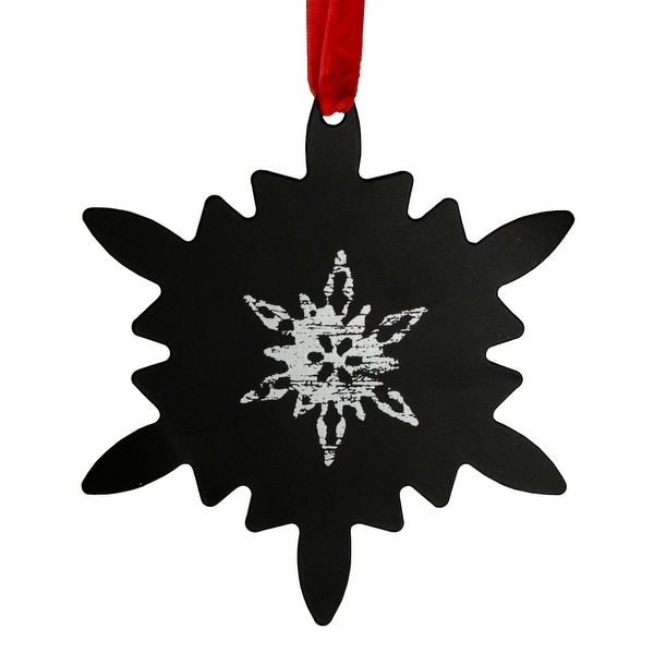 "5.25"" Starburst-Style Black Chalkboard Finished Snowflake Christmas Ornament"