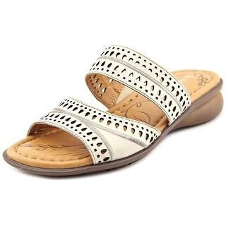 Naturalizer Jenaya Women Open Toe Leather Ivory Slides Sandal