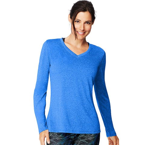 Hanes Sport Cool DRI® Women's Performance Long-Sleeve V-Neck T-Shirt - Color - Awesome Blue Heather - Size - S