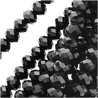 Jet Black Glass Faceted Rondelle Beads 3x4mm (18 Inch Strand)