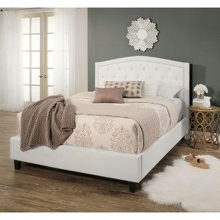 Abbyson Hampton White Tufted Upholstery Platform Bed
