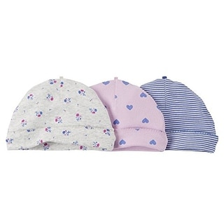 Carter's Baby Girls' Hearts 3 Pack Beanie Cap Set- 0-3 Month